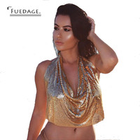 2017 New Style Sexy Cropped Tops Chic Metal Gold Bralette Top Camis Dropped V Spaghetti Strap Ladies Vest Short Clothes