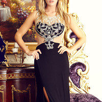 G2040 Jersey Jeweled Sheer Illusion Faux 2 Piece Prom Dress