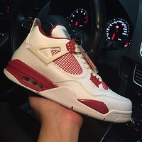 Air Jordan 4 Retro Alternate 89 308497-106 IV White Red Men's Height Increasing Shoes Fashion Shoes Top Quality With Original Box US7-13