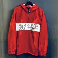 SUPREME New summer fashion sun protection clothing with long sleeves zipper hooded windbreaker top jacket Red
