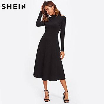SHEIN Cut Out Shoulder Raglan Sleeve Ribbed Dress Black Long Sleeve