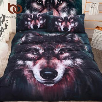 BeddingOutlet 5pcs Bed in a Bag Wolf 3d Bedding Set Duvet Aniaml Printed Bed Cover Twin Full Queen King Home Textiles