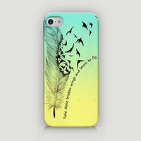 Take These Broken Wings And Learn To Fly - Ombre Design - Free Spirit - Hard Plastic Case for iPhone 5/5S - ALL SIDES PRINTED - YouniQ Art's Registered Design
