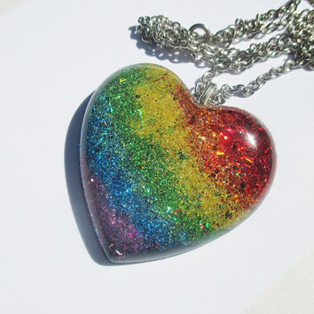 Big Rainbow Heart Necklace - Holographic Colorful Heart Shaped Resin Big Huge Jewelry Gay Pride Jewelry