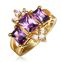 Purple ZInconia Gold Plated Ring