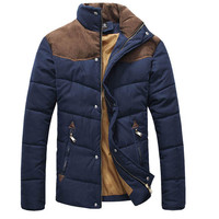Men's Colorant Match Brief Thermal Wadded Thick Cotton Padded Winter Slim Jacket