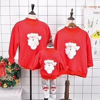 Family Matching Outfits 2017 Winter Christmas Sweater Cute Deer Children Clothing Kid T-shirt Add Wool Warm Family Clothes mc002