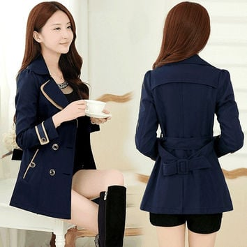 2015 new female body decoration in the spring and autumn coat Korean tide double breasted jacket thin women's windbreaker = 1956237764