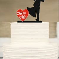 Mr and Mrs wedding Cake topper, Silhouette Wedding Cake topper, Funny Wedding Cake Topper, İnitial Cake topper, Briden and Groom Cake Topper