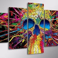 5 piece canvas art - Abstract Multi-Colored Skull