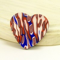 Patriotic Handmade Polymer Clay Brooch Pin, Red White and Blue Brooch Pin