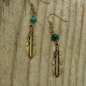 Antiqued Feather Charm Turquoise Earrings