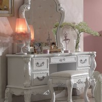 3 pc Dresden collection antique white finish wood bedroom make up dressing vanity with mirror and stool