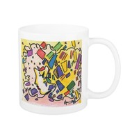 Vintage Peter Max style profile with confitti Mug
