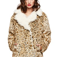 Leopard Animal Print Faux Fur Sherpa Coat Jacket