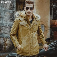 Men's real leather jacket pigskin yellow jackets hooded fur hat Genuine Leather jackets winter warm padding cotton coat men
