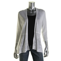 Charter Club Womens Petites Knit Perforated Cardigan Top