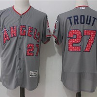 Major League Baseball Jersey Los Angeles Angels #27 Mike Trout Majestic Road Gray Flex Base Authentic Collection Player Jersey