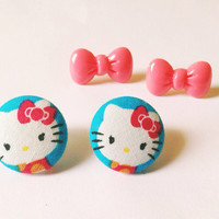 Handmade Hello Kitty Pink and Blue Fabric Earring Set with Pink Hello Kitty Bow