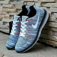 """""""Nike"""" Fashion Breathable Sneakers Sport Shoes Grey white hook"""