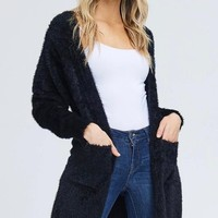 soft fuzzy open front cardigan with double pockets - black