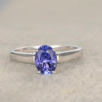 1.37ct Oval Blue Tanzanite Engagement Ring 14K White Gold Wedding Ring Fine 4A Stone