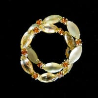 Frosted Rhinestone Jonquil Yellow Brooch, Double Wreath, Topaz, Vintage