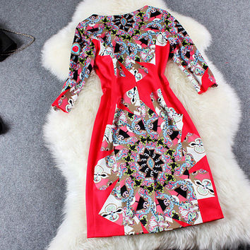 Red Abstract Printed Zipper Back Mini Dress