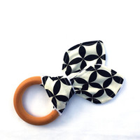 Natural Wooden Teething Ring - Black and White Clover Teething Ring - Maple Hardwood Teething Ring -Bunny Ears Teether - Natural Teething