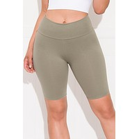 Make It Good High Waist  Biker Shorts Olive Green