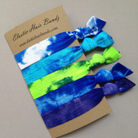 The Blue Green Tie Dye Hair Tie-Ponytail Holder Collection - 5 Elastic Hair Ties