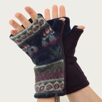 Fabulous Fingerless Mitts in Plum Navy Blue and Green - Recycled Wool - Fleece Lined