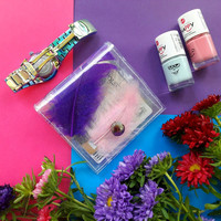 Gift for Woman, ID holder credit Card holder with real feathers and glitter, vinyl wallet, unique card holder, pink green purple blue opal