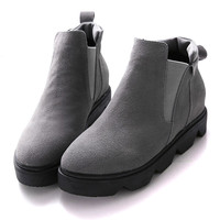 Gray Suedette Elastic Side Round Toe Flatform Ankle Boots