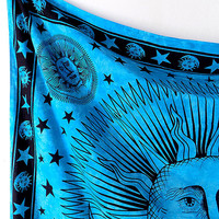 90 x 90 Cotton Fabric Psychedelic Sun Moon Blue Wall Tapestry Hippie Hippy Bedspread Bedding Throw Wall Hanging Boho Bohemian Home Decor Art