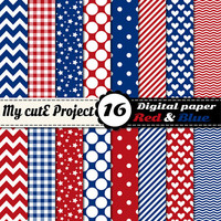 Red and blue - Digital paper pack - Scrapbooking & graphic design - 12x12 - A4 - Polka dots, heart, chevron, stripes, gingham, stars