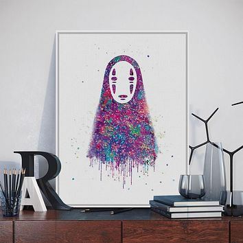 Original Watercolor No Face Japanese Hayao Miyazaki Anime Art Print Poster Abstract Wall Picture Canvas Painting Kids Room Decor