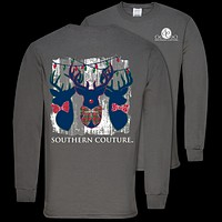 Southern Couture Preppy Christmas Deer Trio Holiday Long Sleeve T-Shirt
