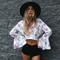 Women Summer Fashion Long Sleeve Print T shirt Sexy Crop Top Woman ladies Casual Loose V-neck Shirts