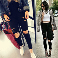 2016 Summer High Waist Jeans Woman Skinny Ripped Jeans For Women Boyfriend Jeans For Women Stretch Ripped Black Jeans Plus Size
