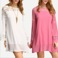 Lace Patchwork round neck long-sleeved dress B0014678