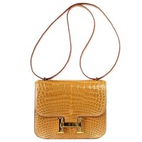Hermes Constance Mini 18 Ficelle Alligator Gold Hardware Neutral Perfection