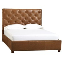 LORRAINE TUFTED LEATHER BED & HEADBOARD
