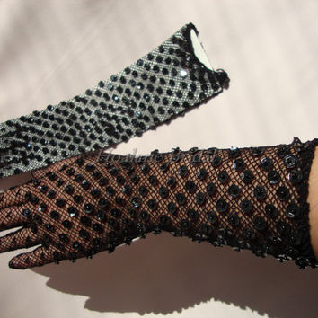 Black gloves with sequins/beads