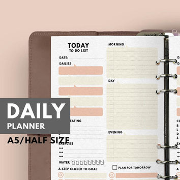 A5 Daily Planner, Filofax A5 Daily Planner, Filofax Insert, A5 Insert, Filofax Daily Planner, Daily Planner Insert A5, A5 Refill, Printable
