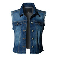 Basic Distressed Frayed Sleeveless Button Up Denim Vest with Pockets (CLEARANCE)