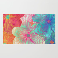 Between the Lines - tropical flowers in pink, orange, blue & mint Rug by Micklyn