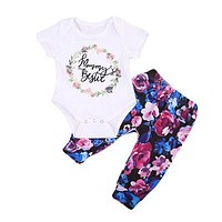 born Baby Girl Clothes Letter Short Sleeve Jumpsuit Romper + Flower Pants Outfits