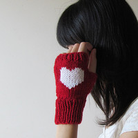 Knit Fingerless Gloves in Dark Red, White Embroidered Heart, Heart Knit Gloves, Fingerless Mittens, Arm Warmers, Wool Blend, Made to Order