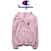 Champion new coat simple chest letter hoodie fashion men and women sports and leisure plus velvet long-sleeved top